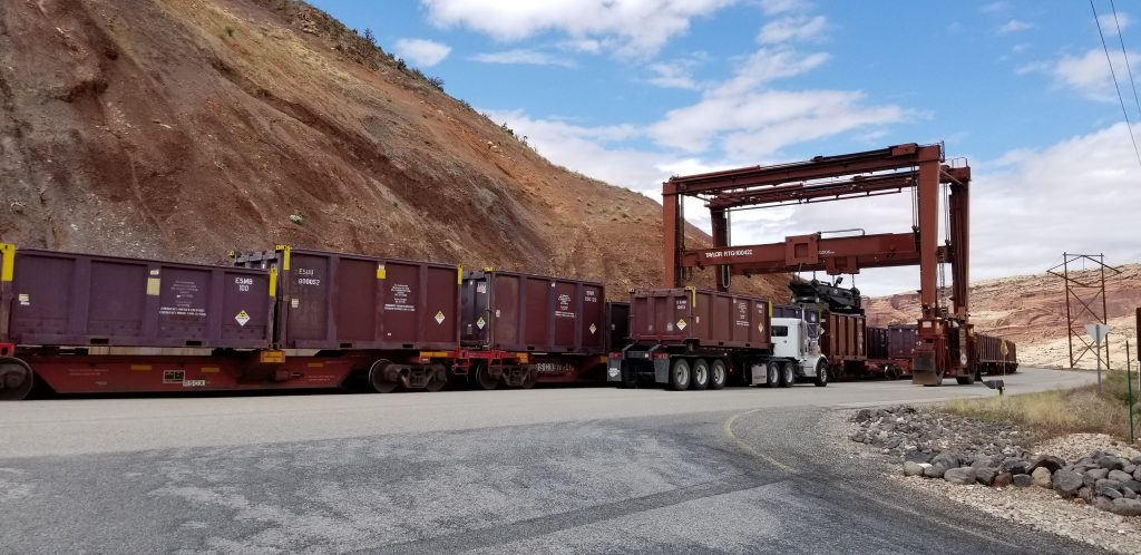This gantry crane moves containers carrying mill tailings from haul trucks onto the train. The containers are then shipped to the Crescent Junction site for disposal. Shipments occur four days a week.